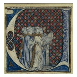 Historiated Initial 'U' Depicting Monks Singing  C1320-30 (Vellum)