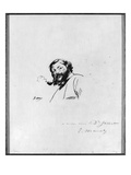 Portrait of Gustave Courbet (Pen and Ink on Paper) (B/W Photo)