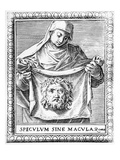 Veronica Holding the Sudarium  1581 (Engraving)