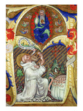 Historiated Initial 'A' Depicting St Benedict Offering His Soul to God the Father  Lombardy School