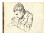 Michel Monet (1878-1966) Writing (Pencil on Paper)