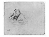 Young Girl Reading  1889 (Black Lead on Paper)