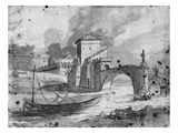 View of the Tiber Near the Bridge and the Castle Sant'Angelo in Rome  C1775-80