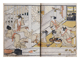 Women Eating  from a Manga (Colour Woodblock Print)