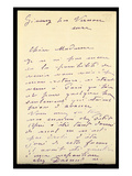 Letter from Claude Monet to Berthe Morisot  1888 (Pen and Ink on Paper)
