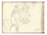 Germaine Hoschede (1873-1968) Reading (Pencil on Paper)