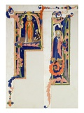 Historiated Initial 'F' Depicting a Bishop Saint Blessing a Young Cripple…