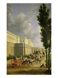 Napoleon I (1769-1821) and Marie-Louise (1791-1847) Leaving for the Hunt in Compiegne  1811
