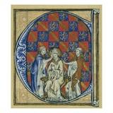 Historiated Initial 'C' Depicting the Ordination of a Bishop  C1320-30 (Vellum)