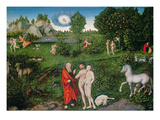 Adam and Eve in the Garden of Eden  1530 (Oil on Panel)