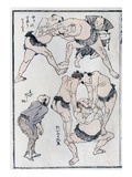 Studies of Gestures and Postures of Wrestlers  from a Manga (Colour Woodblock Print)