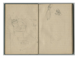 Woman with a Parasol and Female Studies  from a Sketchbook  1888-89 (Pencil on Paper)