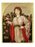 Girl with Book with Roses Behind (Oil on Canvas)