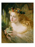 Take the Fair Face of Woman  and Gently Suspending  with Butterflies  Flowers  and Jewels Attending