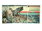 Asahina Saburo and the Crocodiles  Pub 1849 (Colour Woodblock Print)