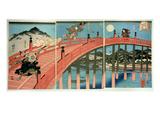 Ushiwaka and Benkei Fighting on Gojo Bridge  Published C1839 (Colour Woodblock Print)
