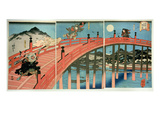 Ushiwaka and Benkei Fighting on Gojo Bridge  Published C1839 (Colour Woodblock Print)