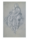 Study for 'The Daphnephoria'  C1876 (Black and White Chalk on Blue Paper)
