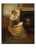A Fireside Read  C1825 (Oil on Panel)