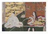 Detail of Spring in the Palace  Six-Fold Screen from 'The Tale of Genji'  C1650