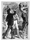 Bob Ford Kills Jesse James (1847-82) Published in 'The Police Gazette' 1882 (Engraving)