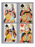 Queen of Spades and Queen of Hearts Playing Cards  17th - 18th Century (Coloured Wood Engraving)