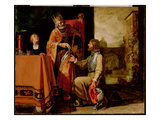 King David Handing the Letter to Uriah  1611 (Paint on Panel)