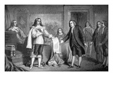 William Penn Receives the Charter of Pennsylvania from Charles Ii of England in 1681 (Litho)