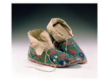 Moccasins  Eastern Sioux  C1890 (Buckskin  Rawhide  Fabric and Glass Beads)
