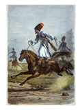 Don Cossacks Giving a Display of Trick Riding (Engraving)