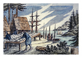 Fishermen Drying Cod in New England  from a 17th Century Woodcut (Colour Litho)