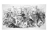 Draft Riots in New York  'Police Repel the Mob from Storming the Tribune Office'  1863 (Litho)