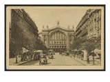 Postcard Depicting the Gare Du Nord and the Boulevard Denain in Paris  C1920 (B/W Photo)