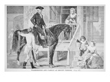George Washington and Family at Mount Vernon  Virginia (Litho)