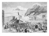 Draft Riots in New York  'The Mob Burning the Provost Marshal's Office'  1863 (Litho)