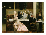 Cafe Scene in Paris  1877 (Oil on Canvas)