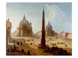 Piazza Del Popolo  Rome (Oil on Canvas)