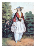 Amelia Jenks Bloomer Wearing the 'Bloomer' Costume  Published by N Currier  1851 (Colour Litho)