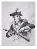 An American Soldier Using His Powder Horn to Prime the Pan of His Flintlock Musket (Lithograph)