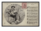 Postcard Depicting a Hurdy Gurdy Player and the Score Sheet of a Bourree  C1900 (B/W Photo)