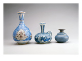 LtoR:Safavid Ghalian Base  Persia  Second Half of 17th Century (Underglaze Painted Earthenware)