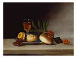 Still Life with a Wine Glass  1818 (Oil on Panel)