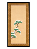 Hanging Scroll Depicting a Snow Clad Pine  from a Triptych of the Three Seasons  Japanese