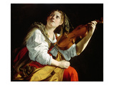 Young Woman with a Violin  C1612 (Oil on Canvas)