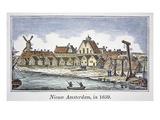 New Amsterdam (Later New York) on Manhattan Island  from a View Published in 1659 (Colour Litho)