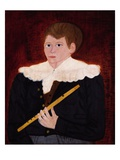 Boy with a Flute  C1820 (Oil on Wood Panel)