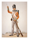 Wellington's Army: Soldier of the 69th Foot Loading His 'Brown Bess' Musket in 1815 (Colour Litho)