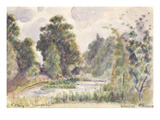 Pond at Kew Gardens  1892 (W/C over Graphite Pencil on Laid Paper)
