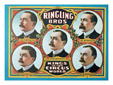 Poster Advertising the 'Ringling Bros Kings of the Circus World'  1905 (Colour Litho)