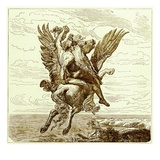 Perseus on the Winged Horse Pegasus  with Medusa's Head